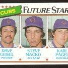 Chicago Cubs Future Stars Dave Geisel Steve Macko Karl Pagel 1980 Topps Baseball Card # 676 nm