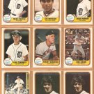 1981 Fleer Detroit Tigers Team Lot 25 diff Alan Trammell Kirk Gibson RC Mark Fidrych jack Morris