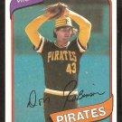 Pittsburgh Pirates Don Robinson 1980 topps baseball card # 719 nr mt