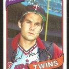 Minnesota Twins Paul Hartzell 1980 topps baseball card # 721 nr mt