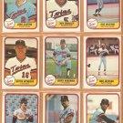 1981 Fleer Minnesota Twins Team Lot 21 diff Jerry Koosman Roy Smalley Butch Wynegar