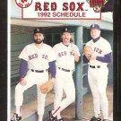 BOSTON RED SOX 1992 POCKET SCHEDULE WADE BOGGS ROGER CLEMENS JEFF REARDON