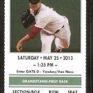 Cleveland Indians Boston Red Sox 2013 Ticket Dustin Pedroia Asdrubal Cabrera