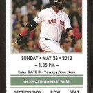 Cleveland Indians Boston Red Sox 2013 Ticket Jason Kipnis Nick Swisher HR Jacoby Ellsbury