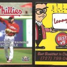 2014 Philadelphia Phillies Spring Training Pocket Schedule Chase Utley Lennys Restaurant Clearwater