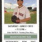 Los Angeles Angels Boston Red Sox 2013 Ticket David Ortiz HR Clay Bucholtz