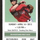 Tampa Bay Rays Boston Red Sox 2013 Ticket Dustin Pedroia Clay Bucholtz Mike Napoli
