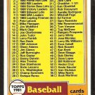 1981 Topps baseball Card Checklist # 31 Cards 1-132 nr mt