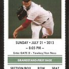 New York Yankees Boston Red Sox 2013 Ticket Mike Napoli 2 Jonny Gomes HR Gardner Cano