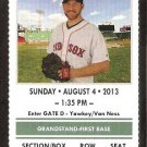 Arizona Diamondbacks Boston Red Sox 2013 TicketVictorino Doubront Ellsbury