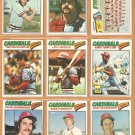 1977 Topps St Louis Cardinals Lot 22 dif Lou Brock Gary Templeton Rookie Keith Hernandez Ted Simmons