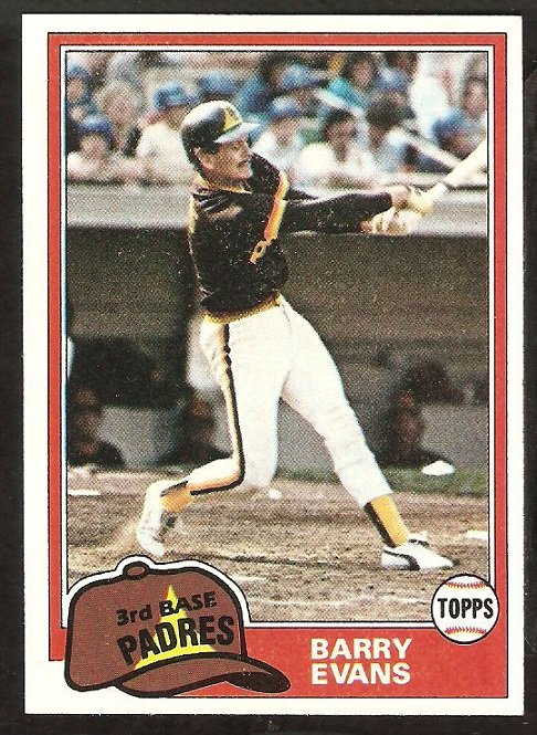 1981 Topps # 72 San Diego Padres Barry Evans nr mt