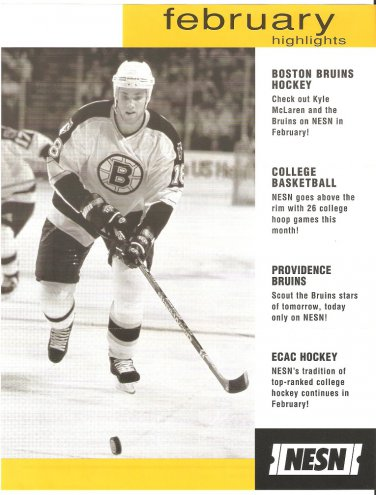 Boston Bruins Kyle McLaren February 2000 NESN Cable Schedule Flyer Big East Pac 10 Providence Bruins