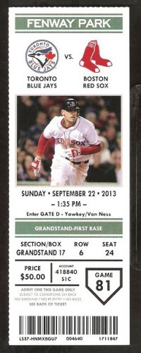 Toronto Blue Jays Boston Red Sox 2013 Ticket David Ortiz Jackie Bradley kevin Pillar HR