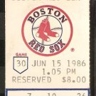 MILWAUKEE BREWERS BOSTON RED SOX 1986 TICKET ROBIN YOUNT HR WADE BOGGS NIEVES CECIL COOPER BUCKNER