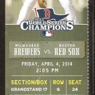 Milwaukee Brewers Boston Red Sox 2014 Opening Day Ticket Lucroy Middlebrooks HR