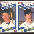 1987 M&M Panel Boston Red Sox Wade Boggs # 5 Detroit Tigers Jack Morris # 6