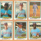 1981 Donruss Texas Rangers Team Lot 6 diff Jim Sundberg Al Oliver Mickey Rivers Medich Norman Norris