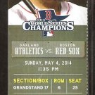 Oakland A's Athletics Boston Red Sox 2014 Ticket Pierzynski HR Yoenis Cespedes