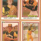 1981 Donruss San Diego Padres 4 Card Lot Dave Winfield Randy Jones Broderick Perkins Steve Mura