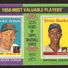 1975 Topps # 196 1958 MVP Boston Red Sox Jackie Jensen Chicago Cubs Ernie Banks good