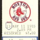 OAKLAND ATHLETICS BOSTON RED SOX 1985 TICKET DAVE KINGMAN HR WADE BOGGS JIM RICE