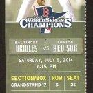 Baltimore Orioles Boston Red Sox 2014 Ticket Nelson Cruz Hundley Drew HR