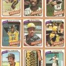1980 Topps Pittsburgh Pirates Team Lot 30 Willie Stargell Bill Madlock Bert Blyleven +