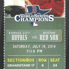 Kansas City Royals Boston Red Sox 2014 Ticket Mike Napoli HR Jarrod Dyson Omar Infante