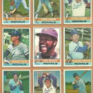 1976 Topps Kansas City Royals Team Lot 14 McRae Patek Rojas Busby Leonard +