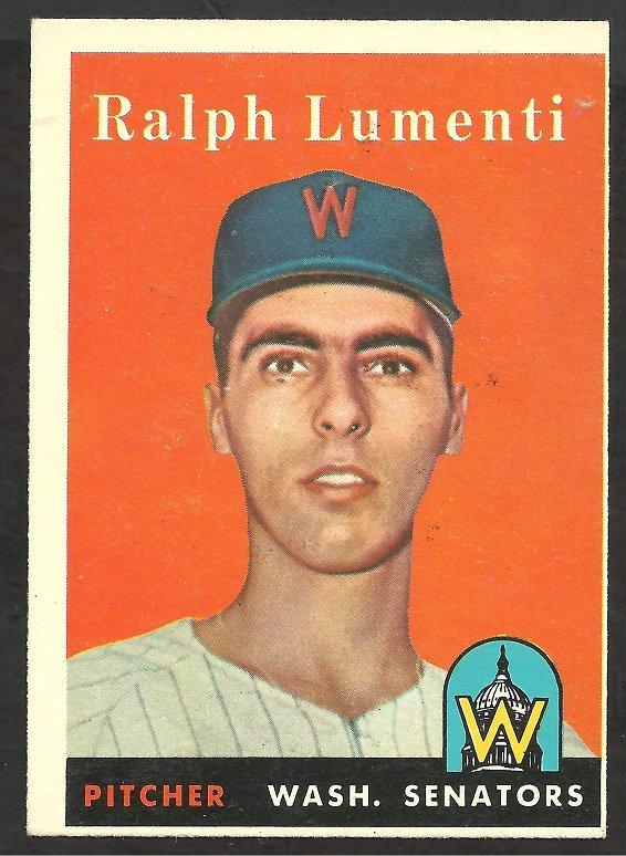 WASHINGTON SENATORS RALPH LUMENTI 1958 TOPPS # 369 EX