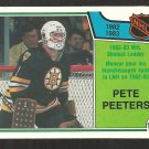 BOSTON BRUINS PETE PEETERS SHUTOUT LEADER 1983 OPC O PEE CHEE # 222 NR MT