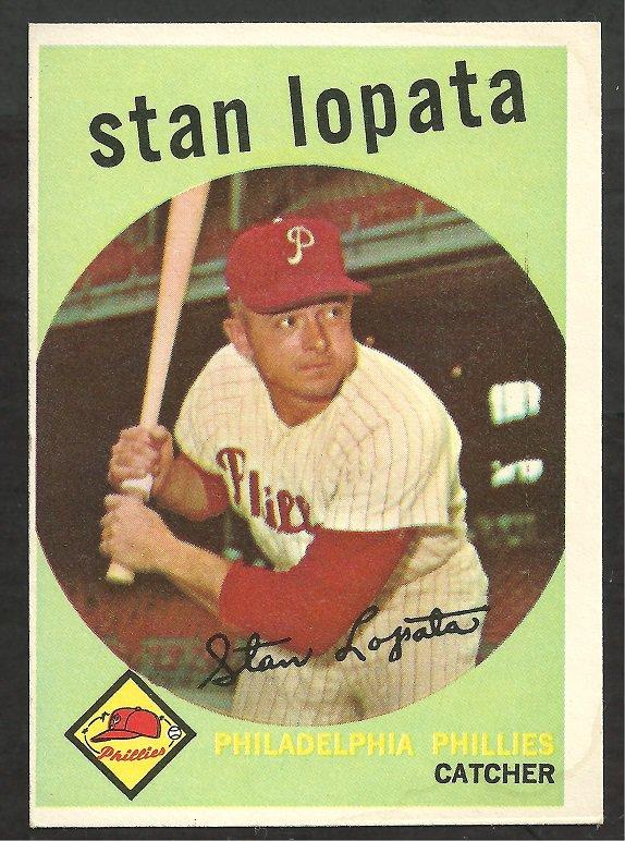 PHILADELPHIA PHILLIES STAN LOPATA 1959 TOPPS # 412 NR MT