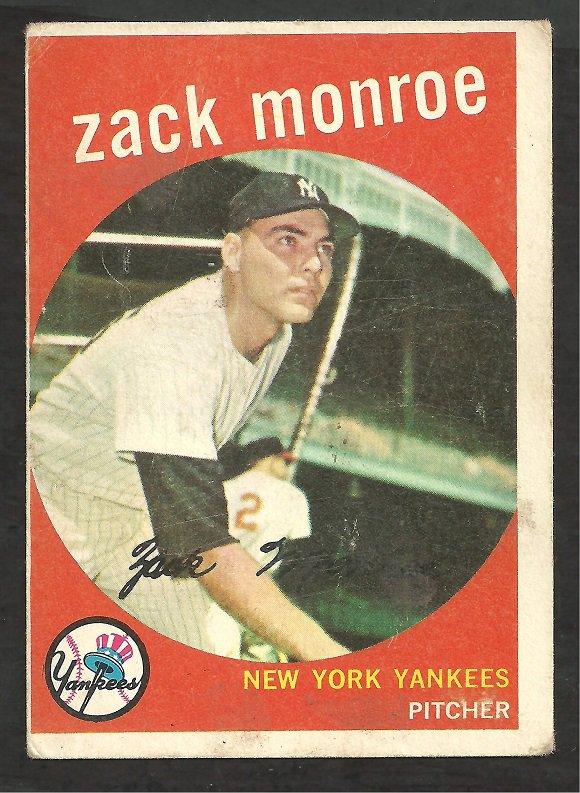 NEW YORK YANKEES ZACK MONROE 1959 TOPPS # 108 VG