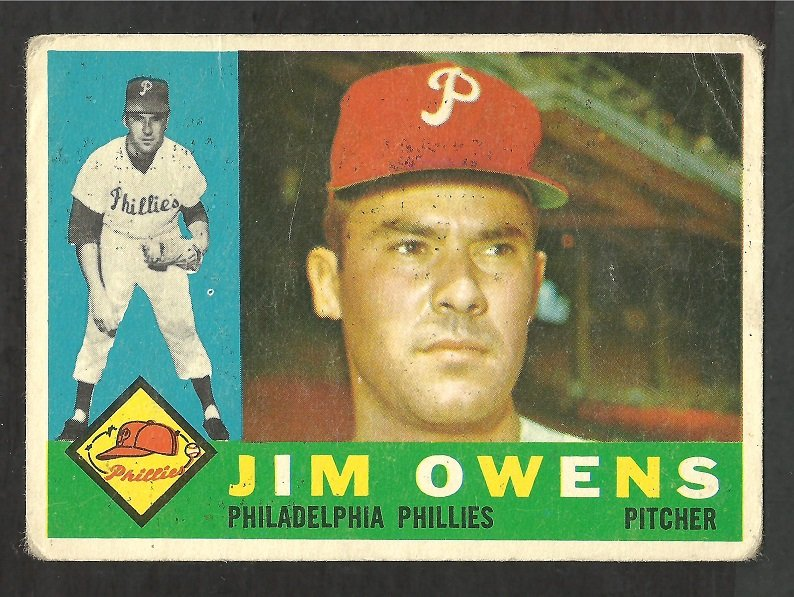PHILADELPHIA PHILLIES JIM OWENS 1960 TOPPS # 185 G