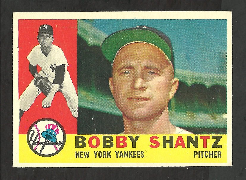 NEW YORK YANKEES BOBBY SHANTZ 1960 TOPPS # 315 VG