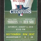 New York Yankees Boston Red Sox 2014 Ticket Derek Jeter 2 Hits Teixeira Napoli HR