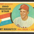 PHILADELPHIA PHILLIES ART MAHAFFEY 1960 TOPPS ROOKIE STAR # 138 G