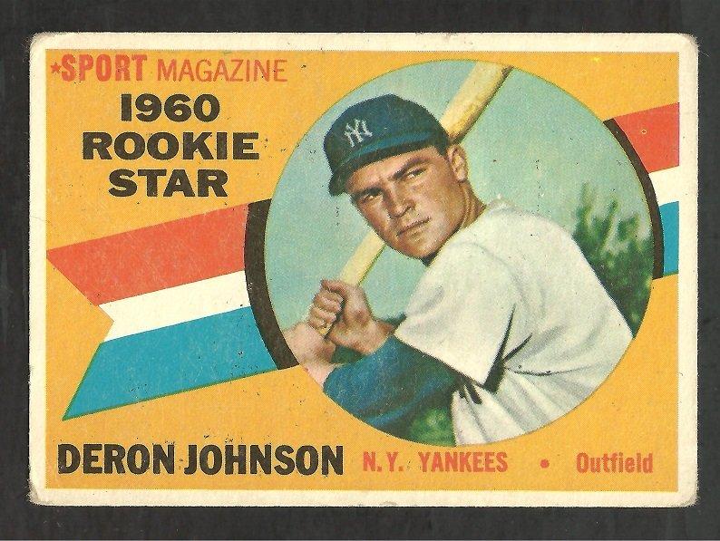 NEW YORK YANKEES DERON JOHNSON 1960 TOPPS ROOKIE STAR # 134 G+