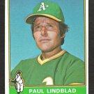 1976 Topps Baseball Card # 9 Oakland A's Athletics Paul Lindblad ex