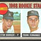 NEW YORK YANKEES ROOKIE STARS STAN BAHNSEN FRANK FERNANDEZ 1968 TOPPS # 214 VG