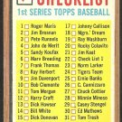 1962 TOPPS 1st SERIES CHECKLIST CORRECT # 22 UNMARKED
