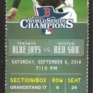 Toronto Blue Jays Boston Red Sox 2014 Ticket Colby Rasmus HR David Ortiz Mookie Betts