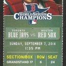 Toronto Blue Jays Boston Red Sox 2014 Ticket Bautista HR Mookie Betts Adam Lind