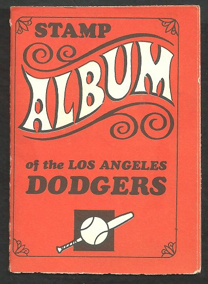 LOS ANGELES DODGERS 1969 TOPPS STAMP ALBUM W/5 STAMPS DON SUTTON WILLIE DAVIS  +