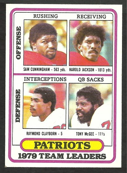 NEW ENGLAND PATRIOTS TEAM LEADERS 1980 TOPPS # 188 EM UNMARKED CHECKLIST