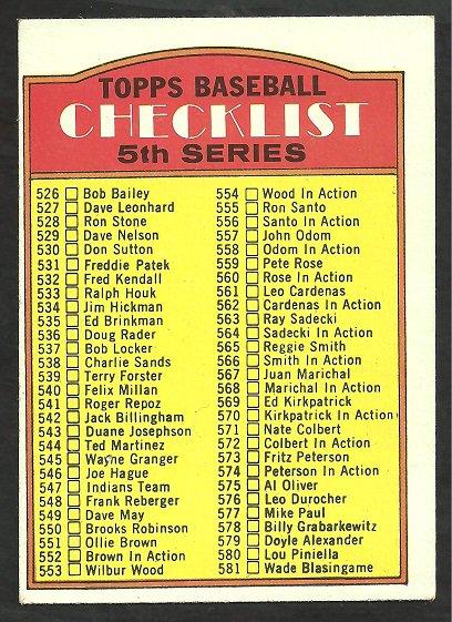 1972 TOPPS UNMARKED 5th SERIES CHECKLIST # 478 EX