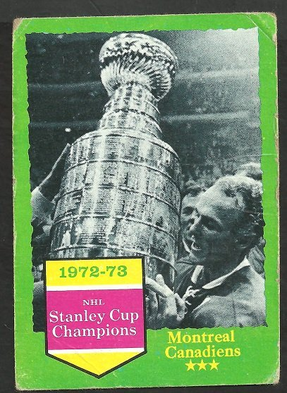 MONTREAL CANADIENS WIN STANLEY CUP 73/74 TOPPS # 198 G