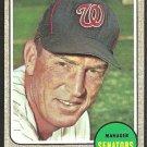 WASHINGTON SENATORS JIM LEMON 1968 TOPPS # 341 EX MT