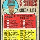 5TH SERIES CHECKLIST CHICAGO CUBS KEN HOLTZMAN 1968 TOPPS # 356 partially marked